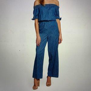 CeCe blue OTS floral jumpsuit